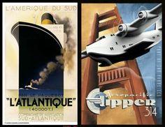 cubist graphic design   Atlantique by A.M. Cassandre and Clipper 314 , by Michael Kungl