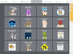 Homophones - Play each sticker's audio to help you match it with the correct homophone.