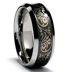 Concave Black Laser Etched Tungsten Carbide Ring Wedding Band Sizes 7 to 15 Black Wedding Rings, Diamond Wedding Rings, Wedding Ring Bands, Gold Wedding, Tungsten Jewelry, Tungsten Rings, Titanium Ring, Tungsten Carbide Wedding Bands, Black Gold Jewelry