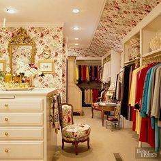 If it wasn't decoratively painted, it was wallpapered or made into a mural, much to the chagrin of the next homeowners everywhere. (Side note: This is what we imagine the closet of an older, more mature Cher from Clueless would look like.)