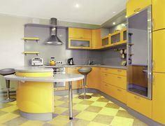 Grey and yellow modern kitchen design idea