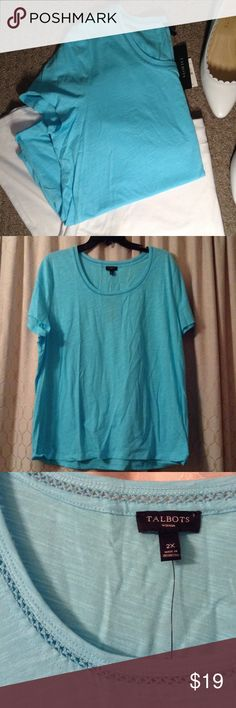 Bright Blue Talbot's Tee Great casual tee to wear in any season. Neckline has accent. In perfect condition, open to reasonable offers! Talbots Tops Tees - Short Sleeve
