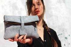 Letaher clutch/gray leather clutch/women bag/gift by CarmelLeather