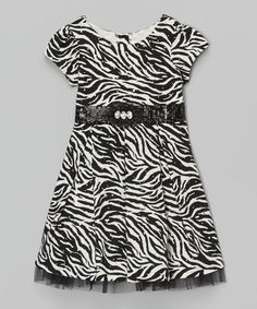 Look at this #zulilyfind! Youngland Black Zebra Sequin Dress - Toddler & Girls by Youngland #zulilyfinds