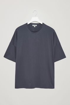 COS image 2 of Oversized cotton jersey t-shirt in Dark Grey T Shirt Polo, Modern Wardrobe, Staple Pieces, Dark Grey, Style Me, Cos, Crop Tops, Essentials, Casual