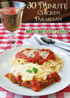 30 Minute Chicken Parmesan is my kids absolute favorite quick and easy meal; using a corn flake crumb crust for the crispy chicken keeps it tender moist. Using gluten-free corn flakes is an option that is equally delicious. quick and easy meals Rock Recipes, Great Recipes, Favorite Recipes, Good Food, Yummy Food, Menu, Chicken Recipes, Turkey Recipes, Pasta Recipes