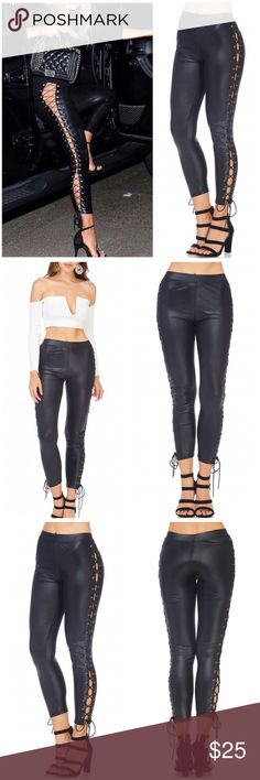 NEW 🔥🔥 Lace Up Side Leather Leggings One Size NEVER BEEN USED. Leatherette leggings with side Lace Up and elastic waist band. Shiny leather to make your legs stand out. The Lace is adjustable as you can replace starting from the bottom. No stains/damages. Styles - Zara Bebe Nordstrom Urban Outfitters BCBGMAXAZRIA Fall Winter Pants Leggings