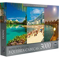 Quebra-Cabeça Super Box Deluxe Praias 3000 Peças - Game Office