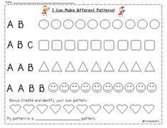 Pattern Freebie--use when teaching musical form Teaching Patterns, Math Patterns, Teaching Music, Teaching Math, Teaching Ideas, Fun Math, Math Activities, Kindergarten Fun, Preschool Math