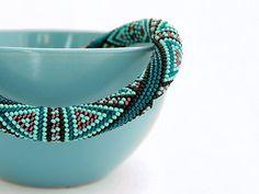 Made to order Bead Crochet Necklace Deep Turquoise por Chudibeads