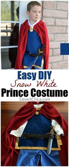 An Easy DIY Snow White prince costume just in time for the release of Snow White on Blu-ray. Who says princesses have all the fun?!?   Easy DIY Snow White Prince Costume Cosplay  