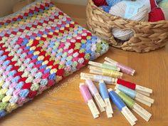 My Cath Kidston inspired crochet granny square blanket ❤ these Debbie Bliss Rialto colours