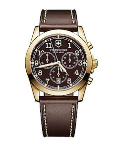 VICTORINOX SWISS ARMY MENS INFANTRY GOLD TONE AND LEATHER CHRONOGRAPH WATCH. #victorinoxswissarmy #