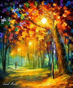 Single Night - Palette Knife Oil Painting On Canvas By Leonid Afremov