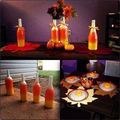 DIY Fall decoration, spray paint bottles for arrangements