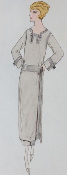 Fashion illustration by Lucile studio sketches, early 1920s, daywear designs, pencil in shades of brown and grey.