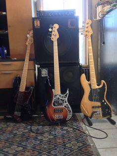 Fender P-Bass, P-Bass Special, and Marcus Miller Jazz Bass
