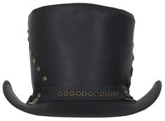 c15f80f13bef4 Black Leather Top Hat with Brass Studs - SKU LL-HAT15-11-DL