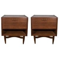 Midcentury Pair of Wooden Night Stands by American of Martinsville