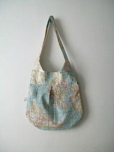 recycle old maps. make travel bag.