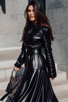 Vogue's roving photographer Søren Jepsen captures the best looks on the streets of the Georgian capital at Tbilisi Fashion Week. Long Leather Coat, Black Wardrobe, Fashion Advertising, Cool Street Fashion, Street Style Looks, Leather Fashion, Coats For Women, Mantel, Catwalk
