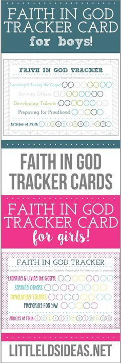 Faith in God tracker cards for girls and boys. Free Printable from Little LDS Ideas