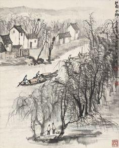 Li Keran (1907-1989) RIVERTOWN IN JIANGNAN. 李可染 (1907-1989)  江南水鄉 設色紙本 立軸 一九五四年作 款識: 江南水鄉。 一九五四年夏。可染作於北京。  鈐印:「李」、「可染」、「放在精微」。 55.2 by 44.2 cm. 21 5/8 by 17 3/8 in.