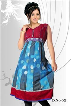 Elegant personality with new SIXMETER Blue #Casual Wear #Anarkali Style #Kurti for lovely lady.
