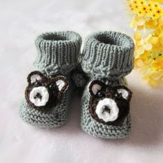 Grey Crochet Pattern Lovely Brown Bear Head Hand Made Boy Baby Boots
