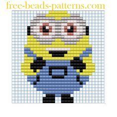 Free perler beads patterns Minions Despicable Me Funny Minion Bob
