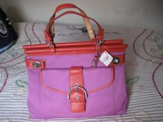 Authentic Coach Tote New w/Tags Style Fuschia Canvas Red/Orange Leather Coach Tote, Designer Purses, Orange Leather, Digital Camera, Baby Items, Coupons, Buy And Sell, Fashion Outfits, Electronics
