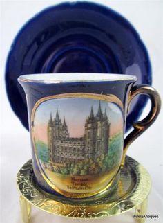Wheelock Dresden Germany Cobalt Mormon Temple, Salt Lake City Tea Cup & Saucer Porcelain Ceramics, China Porcelain, Blue Mormon, Coffe Cups, Dresden Porcelain, Dresden Germany, Antique Tea Cups, Tea Sets, Tea Cup Saucer