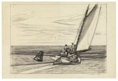 Edward Hopper (1882–1967), Study for Ground Swell, 1939. Fabricated chalk, charcoal, and graphite pencil on paper, 15 × 22 1/8 in. (38.1 × 5...