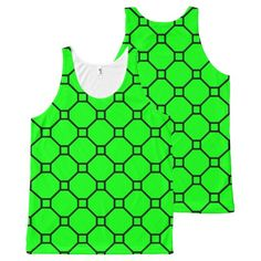 Neon Green Diamond Dots Pattern Minton Style Tile All-Over Print Tank Top Tank Tops