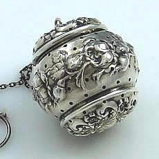 Rare Simmons sterling silver tea ball