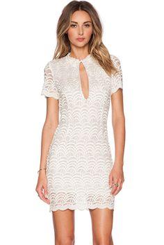 White Lacy Fish Scale Fashion Mini Dress