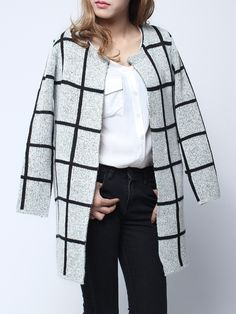 Casual, Women, Plaid, Long Sleeve, Knit Sweater, Open Front, Cardigan, clothing, fashion, women's clothing, bg, banggood