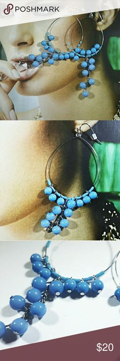 Nine West Turquoise Bead Drop Earrings Turquoise colored bead drop earrings by Nine West. Classic and stylish. Always in style light blue- turquoise colored beads on a dainty silver hoop. Lightweight, versatile and chic. Brand new never worn- NWT  Make an offer♡ Nine West Jewelry Earrings