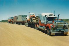 Older RWS Model Mack, unique group of trailers being pulled. Mack Trucks, Big Trucks, Ford Trucks, Train Truck, Road Train, Old Bangers, Fred Williams, Mack Attack, Freight Transport