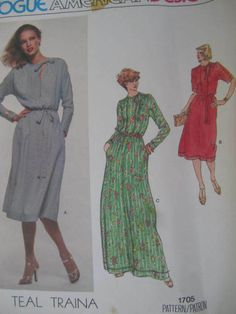 See Sally Sew-Patterns For Less - Loose Fitting Dress American Designer Teal Traina Vogue 1705 Pattern Sz. 12 , $10.00 (http://stores.seesallysew.com/loose-fitting-dress-american-designer-teal-traina-vogue-1705-pattern-sz-12/)