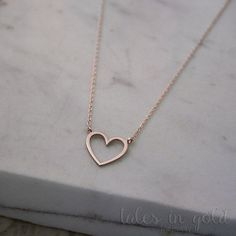 Gold Heart Necklace, Rose Gold Heart, 14K Gold Necklace, Rose Gold, Gift For Wife, Gold Love Necklace, Solid Gold Heart Charm, Heart Jewelry
