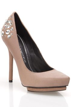 Taupe Crystal Studded Pumps / Rock + Republic