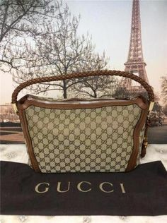 7f6e32375e5 Auth Gucci Bella Brown Woven Leather Monogram Canvas Hobo Bag Handbag Purse   Guccihandbags