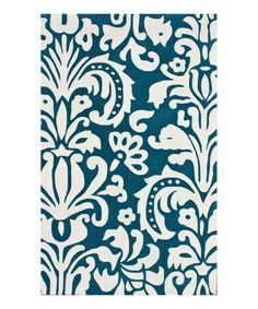 Loving this Blue Modern Damask Rug on #zulily! #zulilyfinds