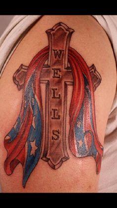 Rebel flag with cross tattoo - Nephtali Brugueras Jt.