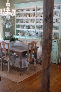 Gorgeous cupboard from Urban Farmhouse!!!This looks like a fun place to dine. Love the tree!