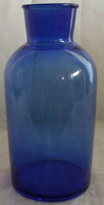 LARGE ANTIQUE Cobalt Blue Glass APOTHECARY BOTTLE JAR Medical Drug Store Ground