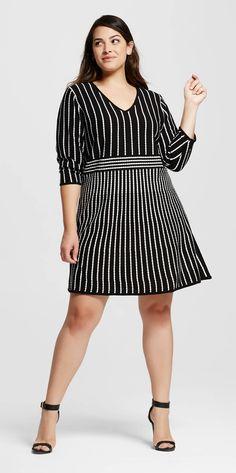Plus Size Stripe Fit & Flare Sweater Dress