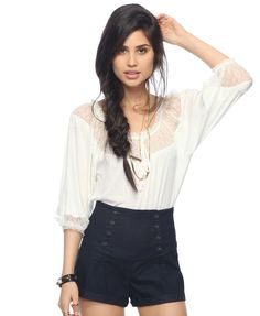 eyelash lace trim top + navy matelot shorts. and her hair :)