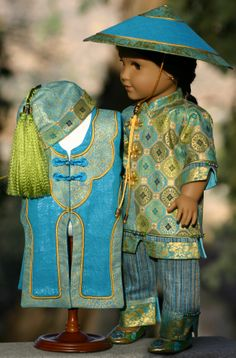 Chinese Dance Costume created for Katie 2013 by Doll Closet Heirlooms. Modified pattern from MHD. Two layers
